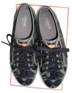 Coach Tennis Sneaker Trainer Optic Print Signature Gray Dee Q998 Lace Tie 8 black grey Athletic