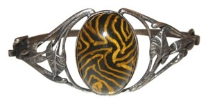 Other Vintage Sterling Silver Leaf Tiger Bangle Bracelet Hand Crafted Hinged Cuff