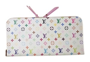 Louis Vuitton BNWT 2015 Louis Vuitton Multicolor Litchi Blanc Insolite Wallet