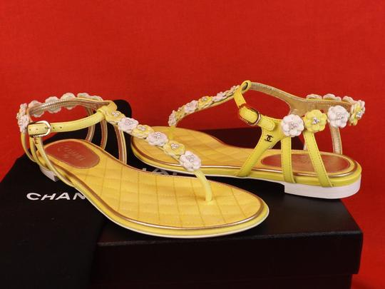 Chanel New In Box YELLOW Sandals Image 6
