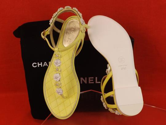 Chanel New In Box YELLOW Sandals Image 9