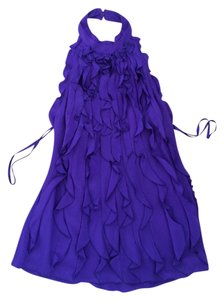 BCBG Ruffle Purple Halter Top