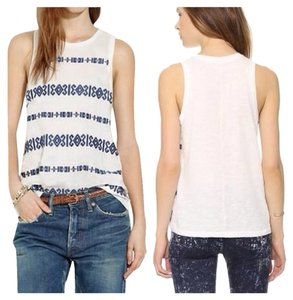 Madewell J.crew Embroidered White Navy Blue Tee Top White, Blue