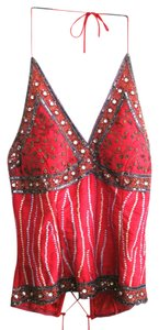 Aftershock London Sequins Silk Handmade Red Halter Top