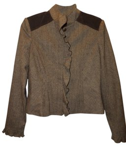 To the Max Ruffle-front Brown Blazer