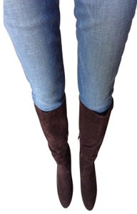 Very Volatile Suede Leather Knee Highs Wedges Brown Boots