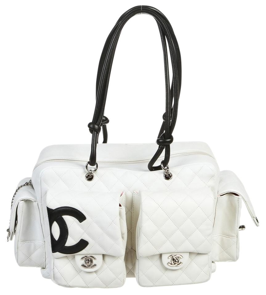 72e41cd6759b Chanel Cambon Quilted Ligne Reporter White Lambskin Leather Shoulder ...
