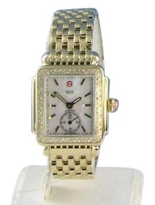 Michele Michele Deco Yellow Gold Tone Diamond Mop Dial Watch Mww06v000003