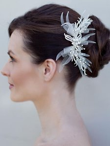 Ivory Rhinestone and Organza Comb Hair Accessories