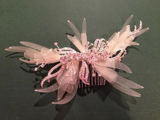 Ivory Rhinestone and Organza Comb Hair Accessory