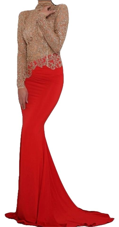 Gold/ Red Sleeve Open Back Goddess Gown Long Formal Dress Size 6 (S ...