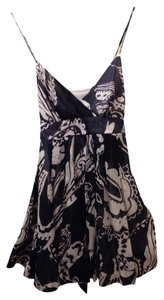Pookie and Sebastian short dress Navy / White Print Mini Empire Waist Sheer Silk Overlay Spaghetti Strap Back Tie on Tradesy