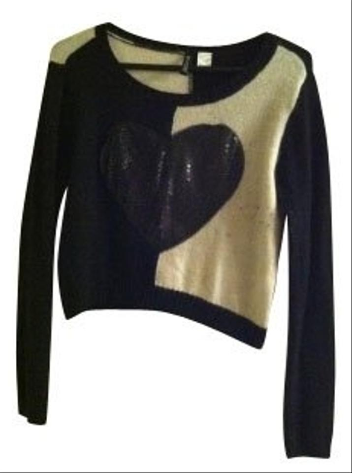 h m black and white sweater pullover size 6 s tradesy. Black Bedroom Furniture Sets. Home Design Ideas