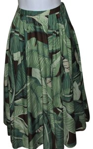 Michael Kors Cruise Collection 2005 Jade Leaf Print 1oo% Cotton Made In Italy New With Tags Size 6 Skirt Light Green To Medium Green & Brown