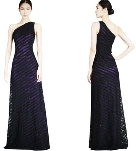 David Meister Fancy Prom Red Carpet Prom Plated Purple+lace Overlay Dress