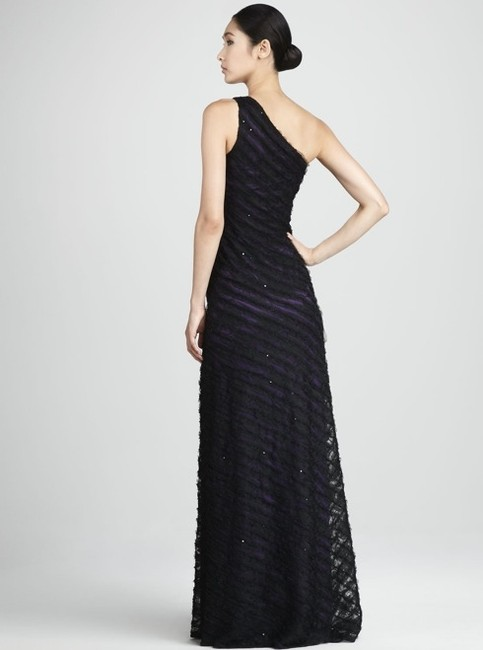 David Meister Red Carpet Prom Plated Purple+lace Overlay One Shoulder Dress