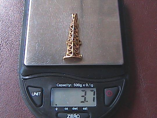 Other 14k Yellow Gold 3D Eiffel Tower Pendant Image 6