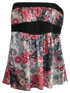 Trixxi Floral Halter Babydoll Top Pink and black