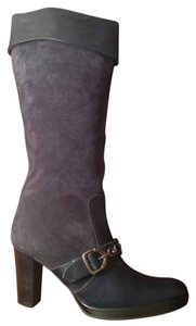 Next Era Leather Suede Knee-high Buckle Navy Blue Boots