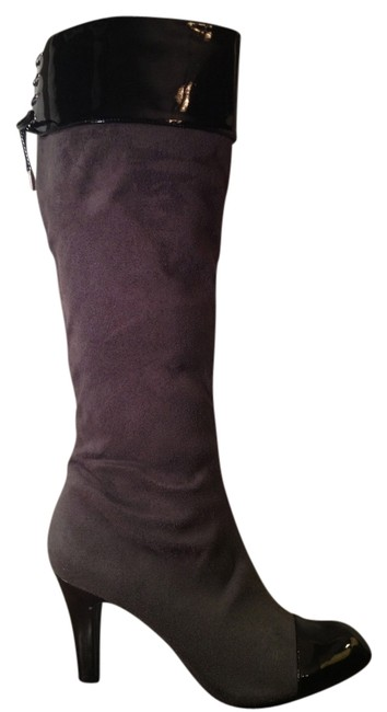 Item - Black/Grey Patent Lace-up Boots/Booties Size US 9