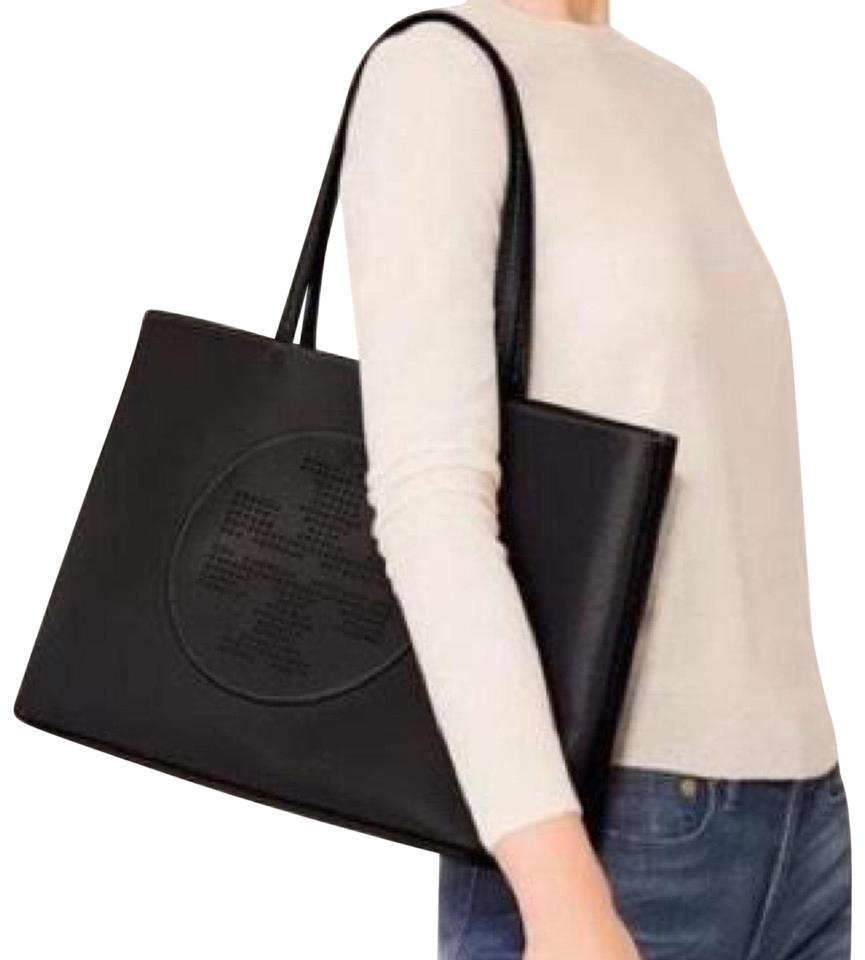 Leather Burch Tote Tory Perforated Black dHwxxtqg