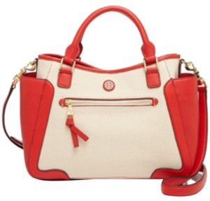 Tory Burch Satchel in Natural/Bright Red