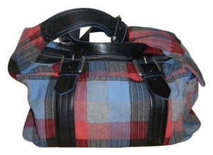 Marc Jacobs Travel Weekender Duffle Red Blue Plaid Travel Bag