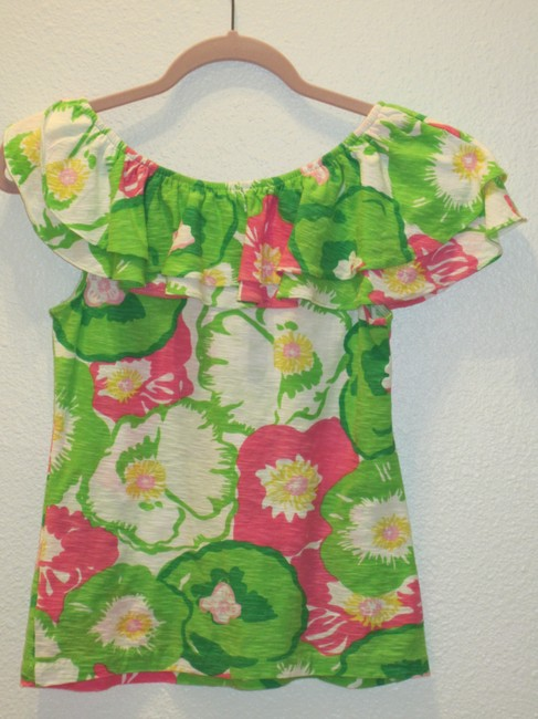 Lilly Pulitzer Top Greens/Pinks/Yellow/White Image 2