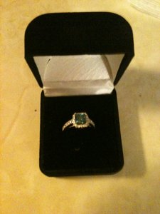 1.61 Carat Blue Diamond With 18 Kt. White Gold Ring