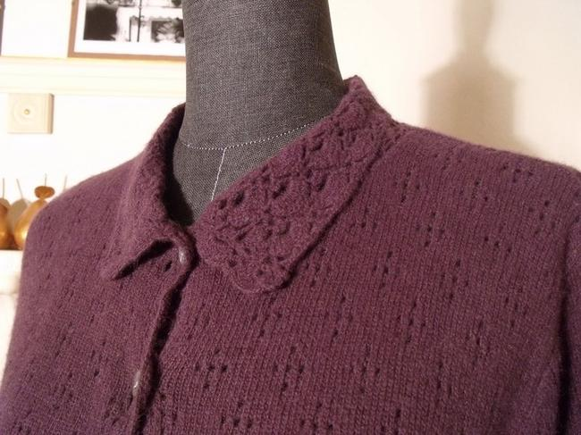 Other Deane & White Broderie Anglaise Pockets Angora Wool Eggplant Purple Cardigan