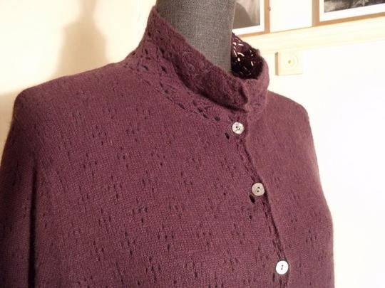 Deane & White Broderie Anglaise Pockets Angora Wool Eggplant Cardigan #685546 - Cardigans durable service
