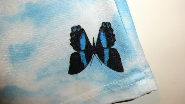 Other Butterflies Butterfly Cloud Sky Screenprint Fun Unique Cute Shirt Outfit Pretty Spring Summer Button Down Shirt White and Blue