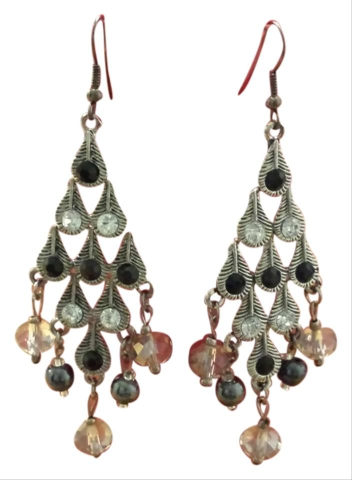 Silver Plated With Black And Clear Beads Earrings