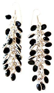 Other Long Dangle Genuine Onyx Cabochan Charm Earrings