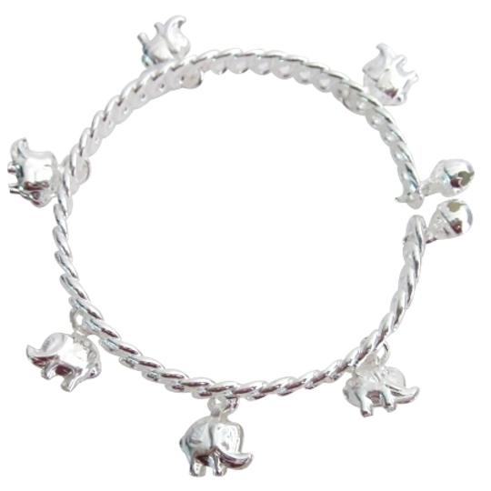 Silver Elephant Charms Dangling Cuff Great Holiday Gift Bracelet