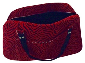 Nicole Mighty Designs Velvet Lining Outside Pocket Large Inside Pocket Red and Black Travel Bag