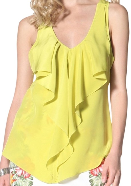 Yoana Baraschi Date Date Night Night Out Ruffle Flowy Sexy Edgy Girly Cut-out Spring Easter Summer Cute Hot Tunic Racer-back Going Out Top Lime