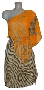 Bisou Bisou short dress Leopard Tiger One Shoulder Batwing Butterfly Wing on Tradesy