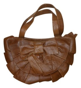 Leather Ruffled Shoulder Bag