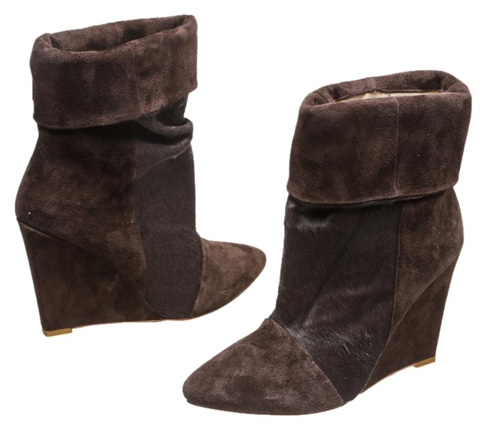 Brown Suede and Wedge Pony Hair Wedge and 38) Boots/Booties 3f7953