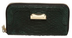 Burberry Burberry Green Snakeskin Zip Around Wallet