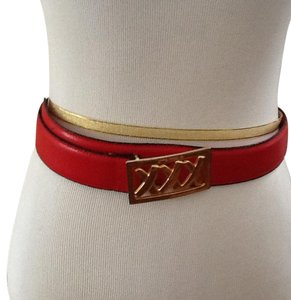 Paloma Picasso Paloma Picasso Red Leather Belt with Gold Buckle