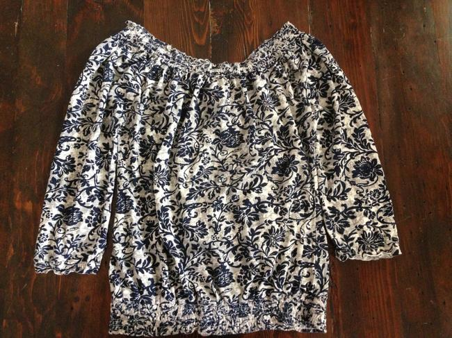 Lucky Brand Top Blue/Silver/White Floral