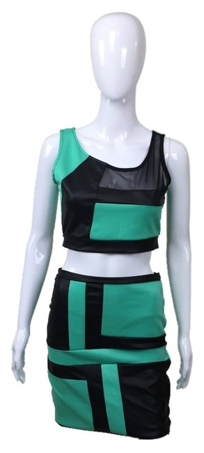 Preload https://img-static.tradesy.com/item/686156/turquoise-black-two-squared-knee-length-night-out-dress-size-12-l-0-0-650-650.jpg