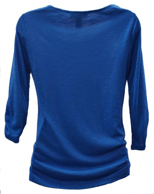 Style & Co Cowl Neckline Embellishment Front Printed Fitted T Shirt blue