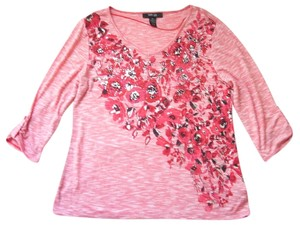 Style & Co V-neckline Embellished Print Pettite Studded Floral T Shirt Red