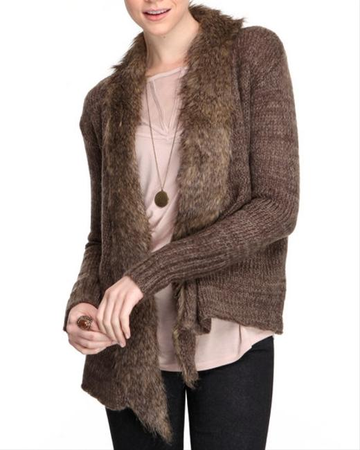 Jack by BB Dakota Faux Fur Knit Open Front Draped Soft Fall Winter Lightweight Cardigan