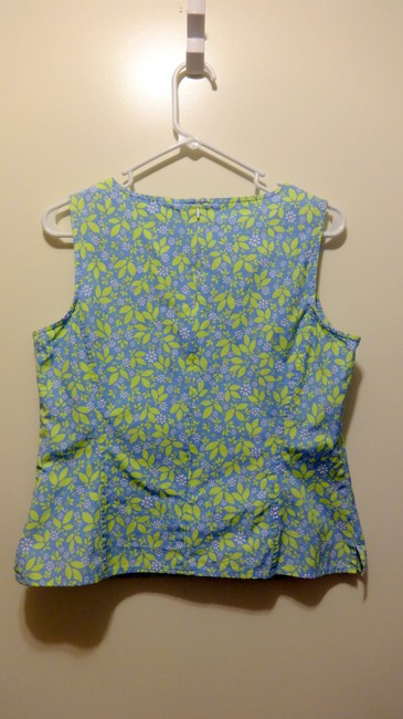 Liz Claiborne Shell Floral Pattern Workout Spring Summer Zipper Petite Top Blue and Green