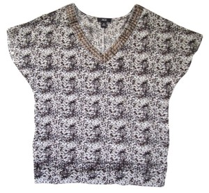 AGB Studded Neckline Top Animal Print