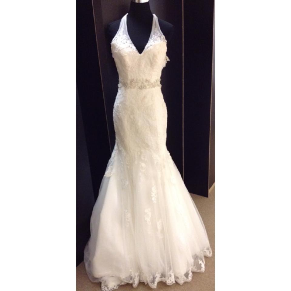 Maggie sottero ivory lace formal wedding dress size 2 xs for Size 2 wedding dress
